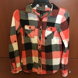 Polly & Esther red black & white plaid flannel